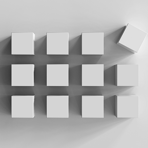 3D cubes arranged in a 3 by 4 grid with on askew